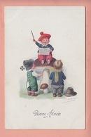 OLD POSTCARD -  CHILDREN - CONDUCTOR SITTING ON MUSHROOM - Autres