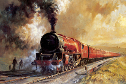 №120.26 Postcard Modern Rare New Passenger Locomotive Train Railroad Through The Field - Trains