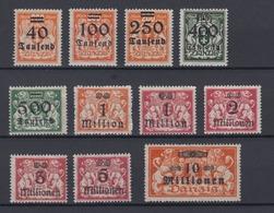 Danzig 158-168 Marken Mit Bdr. Aufdruck 40 T Auf 200 M - 10 Mio Auf 1 Mio M ** - Danzig