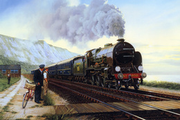 №120.27 Postcard Modern Rare New Passenger Locomotive Train Railroad Crossing - Trains