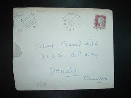 LETTRE Pour Le CAMEROUN TP M. DE DECARIS 0,25 OBL. Tiretée 24-8 1964 YZERON RHONE (69) Obl.mec. Arrivée Au Verso - 1962-65 Cock Of Decaris