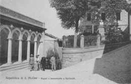 """07701 """"REPUBBLICA DI SAN MARINO . PIAZZA E MONUMENTO A GARIBALDI """" ANIMATA CART. ORIG. NON SPED. - San Marino"""