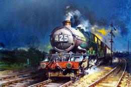 №120.30 Postcard Modern Rare New Passenger Locomotive Train Night Railway - Trains