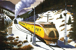 №120.33 Postcard Modern Rare New Passenger Locomotive Train Winter Railway - Trains