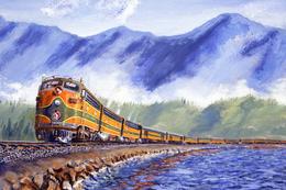 №120.34 Postcard Modern Rare New Passenger Locomotive Train Railway Along The River - Trains