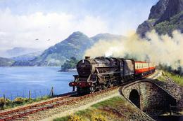№120.36 Postcard Modern Rare New Passenger Locomotive Train Railroad Bridge - Trains