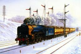 №120.37 Postcard Modern Rare New Passenger Locomotive Train Winter Railway - Trains