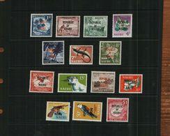 NAURU - QEII - 1968 - REPUBLIC O/PRINTS - DEFS - MNH - 14 Stamps - Nauru