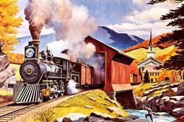 №120.40 Postcard Modern Rare New Passenger Locomotive Train Rustic Railway - Trains