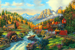 №120.42 Postcard Modern Rare New Passenger Locomotive Train Forest Railway - Trains