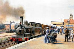 №120.45 Postcard Modern Rare New Passenger Locomotive Retro Train Train Station - Trains