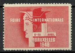 Belgium 1948 Foire Internationale Bruxelles Messe Fair (*) - Commemorative Labels