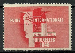 Belgium 1948 Foire Internationale Bruxelles Messe Fair (*) - Erinnophilie - Reklamemarken