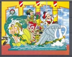 NctA149 WALT DISNEY ZWAAN VOGELS PAPEGAAI BIRDS PARROT SWAN MICKEY CHRISTMAS DOMINICA 1990 PF/MNH # - Disney