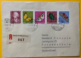 8679 - Série 1957 Sur Recommandé De Zürich 3.12.1957  Pour  L'Allemagne Papillons Butterfly - Pro Juventute