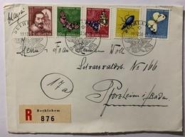 8681 - Série 1956 Sur Recommandé Bethlehem 19.12.1956 Pour L'Allemagne Papillons Butterfly - Pro Juventute