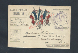 MILITARIA CARTE EN FRANCHISE MILITAIRE TAMPON DU 109e X SAINT ETIENNE ECRITE EN 1914 : - Marcophilie (Lettres)