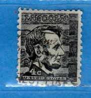 (Us2) USA °- 1965-66 - Américains Célèbres- Abraham Lincoln.  Yvert . 795 .  USED.  Vedi Descrizione - Stati Uniti