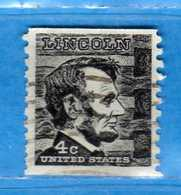 (Us2) USA °- 1965-66 - Américains Célèbres- Abraham Lincoln.  Yvert . 795a D. 10 Verticale .  USED.  Vedi Descrizione - Stati Uniti