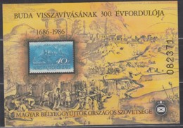 UNGARN, Vignettenblock Zum 300. Jahrestag Der Rückeroberung Der Burg Von Buda 1986, Gummiert - Vignetten (Erinnophilie)