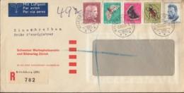 SCHWEIZ  588-592 MiF, Satzbrief Einschreiben Luftpost, Gestempelt: Kilchberg 2.XII.1953 - Pro Juventute