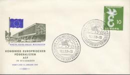 BRD 295 EF, Auf Sonderumschlag Mit Sonderstempel: Wiesbaden Kongress Europäischer Föderalisten 11.1.1959 - Europa-CEPT