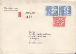 SCHWEIZ  679. 2x 680 MiF, Auf R-Brief Gestempelt: Kilchberg 2.XI.1959, Europa CEPT 1959 - Europa-CEPT