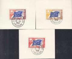 FRANKREICH Dienstmarken Für Den EUROPARAT 2 I, 3 I, 5I, Sammlerkärtchen, Gestempelt - Europa-CEPT