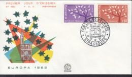 Frankreich 1411-1412, FDC, Europa CEPT 1962, Stempel: Strasbourg Europarat - Europa-CEPT