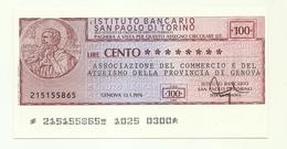 1976 - Italia - Istituto Bancario San Paolo Di Torino - Associazione Del Commercio E Del Turismo Della Prov. Di Genova - [10] Checks And Mini-checks