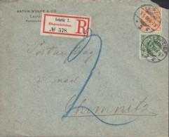 DR Mi 46 A, 49 Ba MiF Auf R-Brief Der Fa. Anton Wolff & Co., Postauftrag, Gestempelt: Leipzig 3.5.1900 Nach Chemnitz - Briefe U. Dokumente
