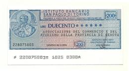1976 - Istituto Bancario San Paolo Di Torino - Associazione Del Commercio E Del Turismo Della Provincia Di Genova - [10] Assegni E Miniassegni