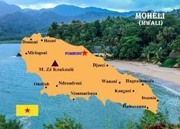 Comoros Moheli Island Map Comores New Postcard Komoren Landkarte AK - Komoren