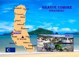 Comoros Grande Comore Island Map Comores New Postcard Komoren Landkarte AK - Komoren