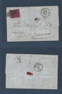 ITALY Papal States. 1870 (19 Apr) Roma - Genoa. EL Fkd 20c Intense Lilac Perf Matt Paper Tied Romboid Dots. - Italy