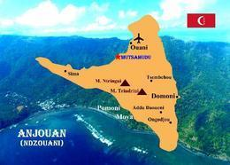 Comoros Anjouan Island Map Comores New Postcard Komoren Landkarte AK - Komoren