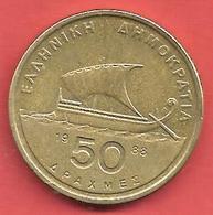 50 Drachmai , GRECE , Nickel-Laiton , 1988 , N° KM # 147 - Grèce