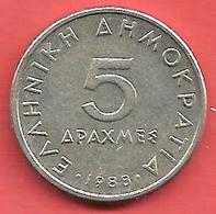 5 Drachmai , GRECE , Cupro-Nickel , 1988 , N° KM # 131 - Grèce