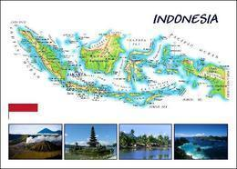 Indonesia Country Map New Postcard Indonesien Landkarte AK - Indonesien