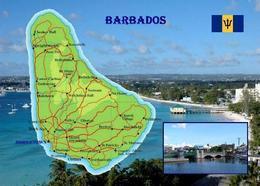 Barbados Country Map New Postcard Landkarte AK - Barbados (Barbuda)