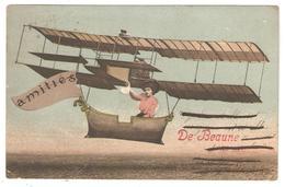"CPA 21 BEAUNE ""Amitiés De Beaune"" Jeune Femme, Avion (peu Courante) - Beaune"