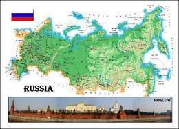 Russia Country Map New Postcard Russland Landkarte AK - Russland