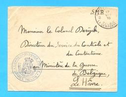 OMSLAG 1916  :  CORRESPONDANCE  PRIVEE  Au Ministère De La Guerre De  Belgique, Le  Hâvre. - Guerre 14-18