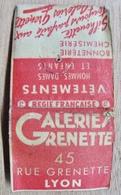 POCHETTE D'ALLUMETTES GALERIES GRENETTE 45 RUE GRENETTE LYON VETEMENTS HOMMES  DAMES ET ENFANTS BONNETERIE CHEMISERIE - Boites D'allumettes