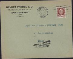 Guerre 39 YT 517 CAD St Etienne 4 XI 1942 Cachet Retour Envoyeur Relations Postales Interrompues Débarquement Alliés AFN - Guerra De 1939-45
