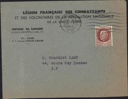 Lettre Légion Française Combattants Et Volontaires De Révolution Nationale Haute Vienne YT 517 CAD Limoges PP 28 10 43 - Marcophilie (Lettres)