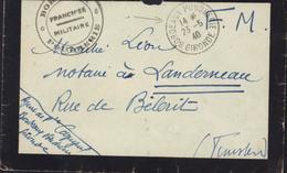 Guerre 39 45 Cachet Bordeaux Poudrerie Franchise Militaire + CAD Bordeaux Poudrerie Gironde 23 5 40 Pour Landerneau - Guerre De 1939-45