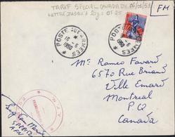 Algérie FM SP 98152 AFN + Poste Aux Armées 15 6 1960 YT 1234 Marianne Nef Tarif Spécial Canada Du 6 1 59 Nouveaux Francs - Cartas