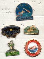 LOT DE 5 PIN'S NATATION CLUBS DIVERS: NANTERRE, BIACHE, MARCHIENNES, CROIX, WAZIERS - Natation
