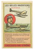 Chromo Chocolats Fins Le Rhône : Les Belles Inventions, Aviation -8- ( Hydravion, Aéroplane, Waghorn ) - Cromo